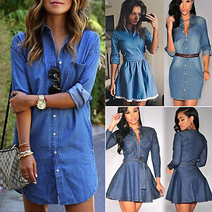 e27d216d Image is loading Women-Denim-Shirt-Dress-Jeans-Button-Pocket-Long-