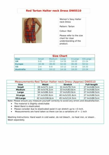 Red Check Mini Dress Women/'s Halter Neck Deep Cleavage Micro Tartan Eve Party