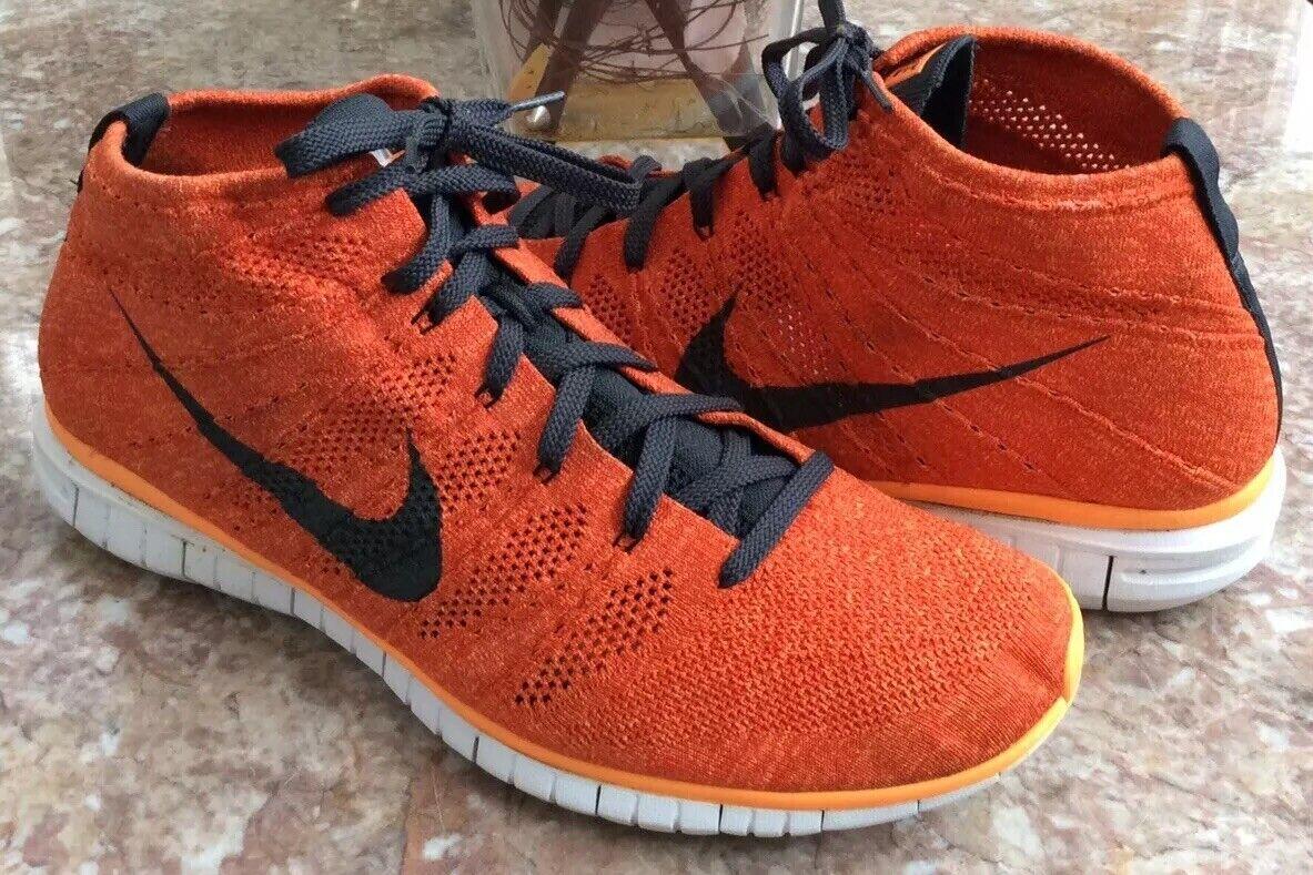 Nike Free Flyknit Chukka Men's orange Training shoes Size 15 EUC