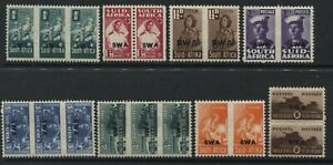 South-West-Africa-1942-45-1-2d-to-1-pairs-mint-o-g