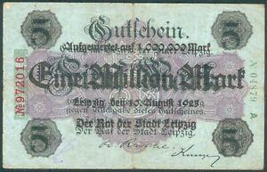 Leipzig-1-Million-Mark-vom-10-Aug-1923-rote-6stellige-Kenn-Nr-972016-II-III