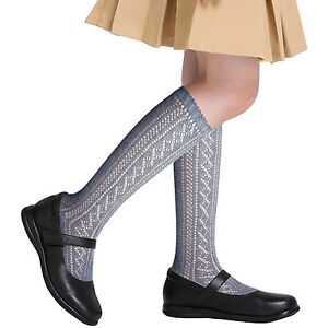Girls-traditional-back-to-school-knee-high-Pelerine-cotton-Socks-4-colours