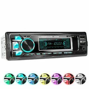 Autoradio mit Bluetooth Freisprech USB SD Aux FM 7 Farben 1DIN MP3