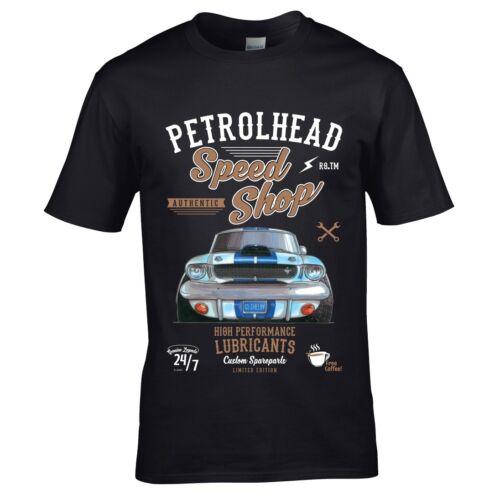 Koolart Petrolhead Speed Shop Motif /& American Shelby Mustang image mens T-Shirt