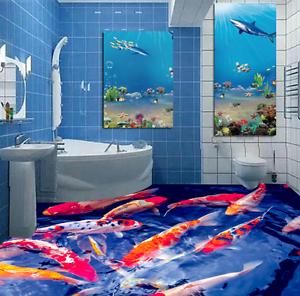 3D colord Fish Pond 866 Floor WallPaper Murals Wall Print Decal 5D AU Lemon