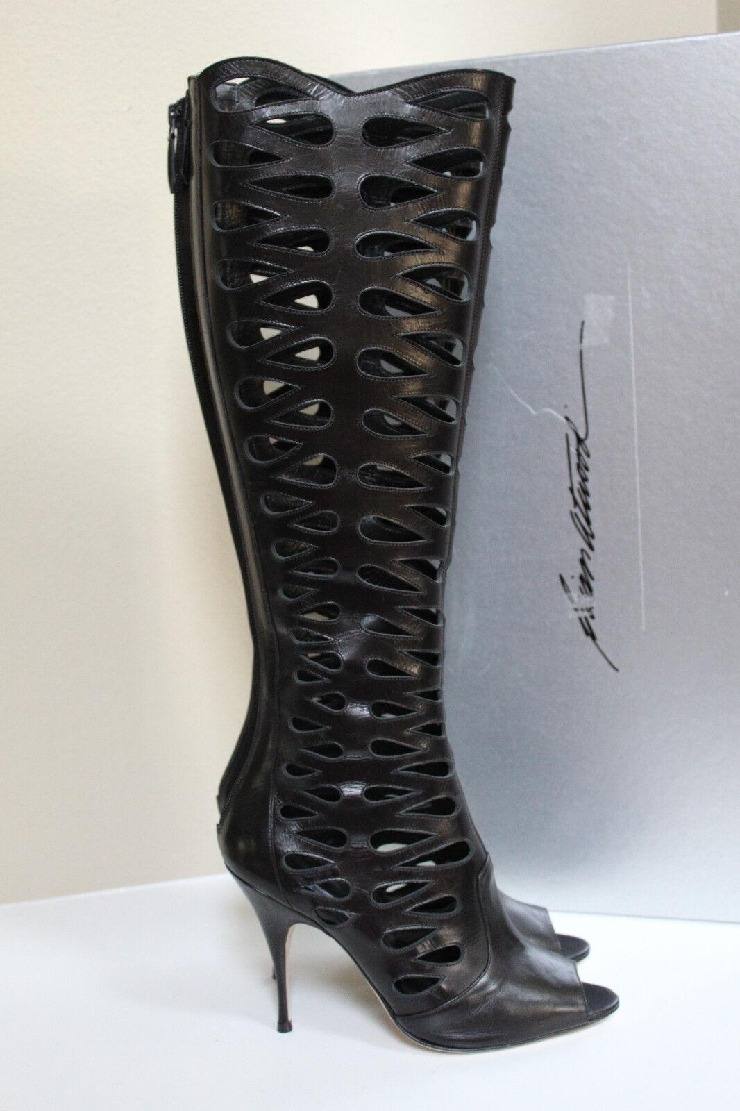 consegna veloce e spedizione gratuita per tutti gli ordini New sz 9.5   39.5 39.5 39.5 Brian Atwood Electra nero Leather Cutout Knee High stivali Shoe  autorizzazione ufficiale