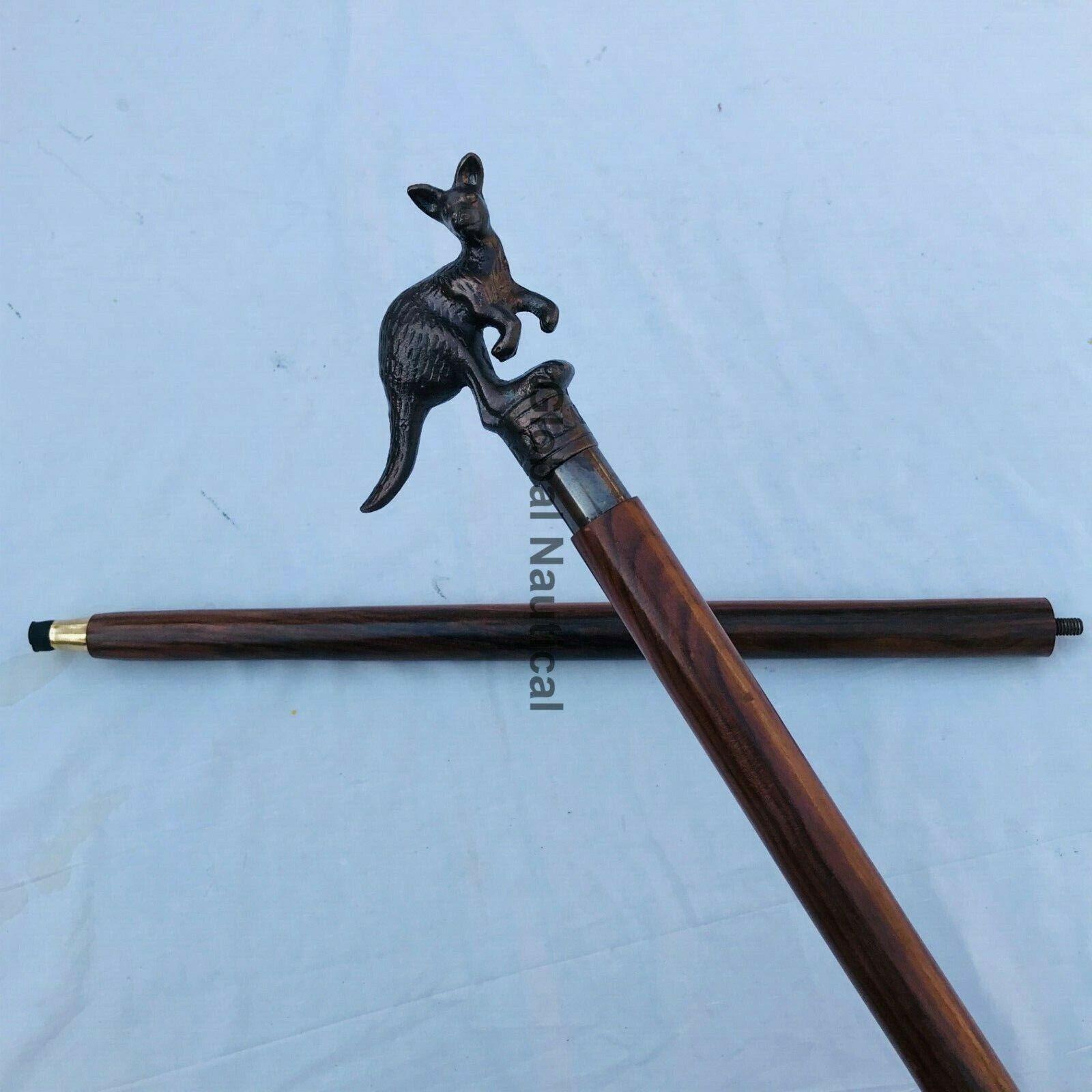 Kangaroo Design Nautical Walking Stick Handle With Wooden Unisex Walking Stick