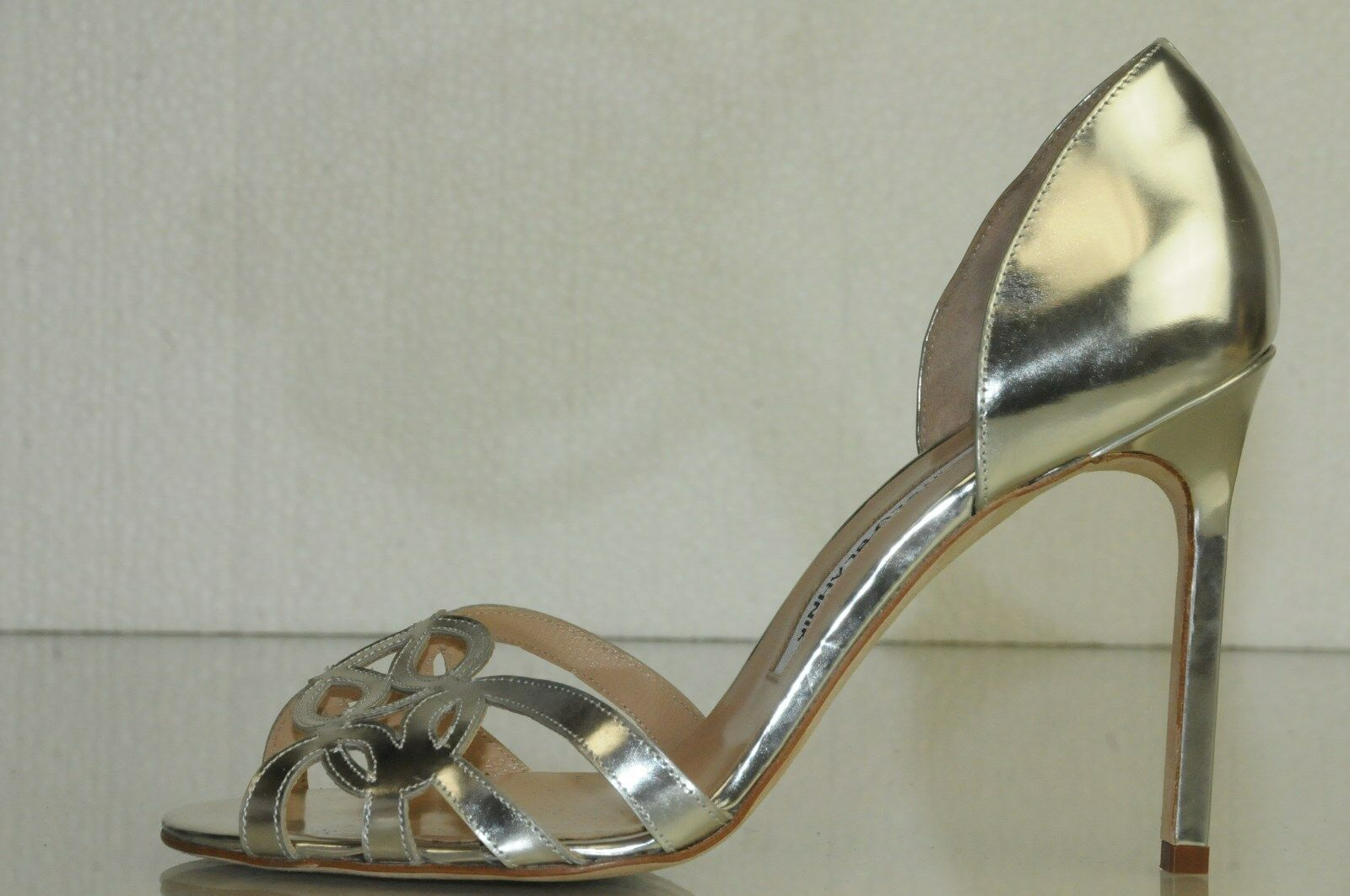 895 New Manolo Blahnik Silver Dorsay Sandals BB Heels shoes 37 Wedding