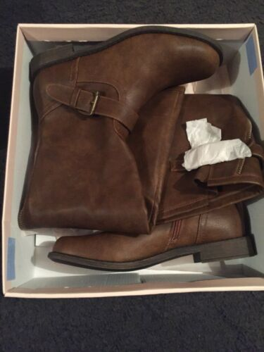 New Zip Knee Detail Boots Fab Just Leather Size 7 Faux Brown 5 Length 10 Us Tan OFU5qZwx5