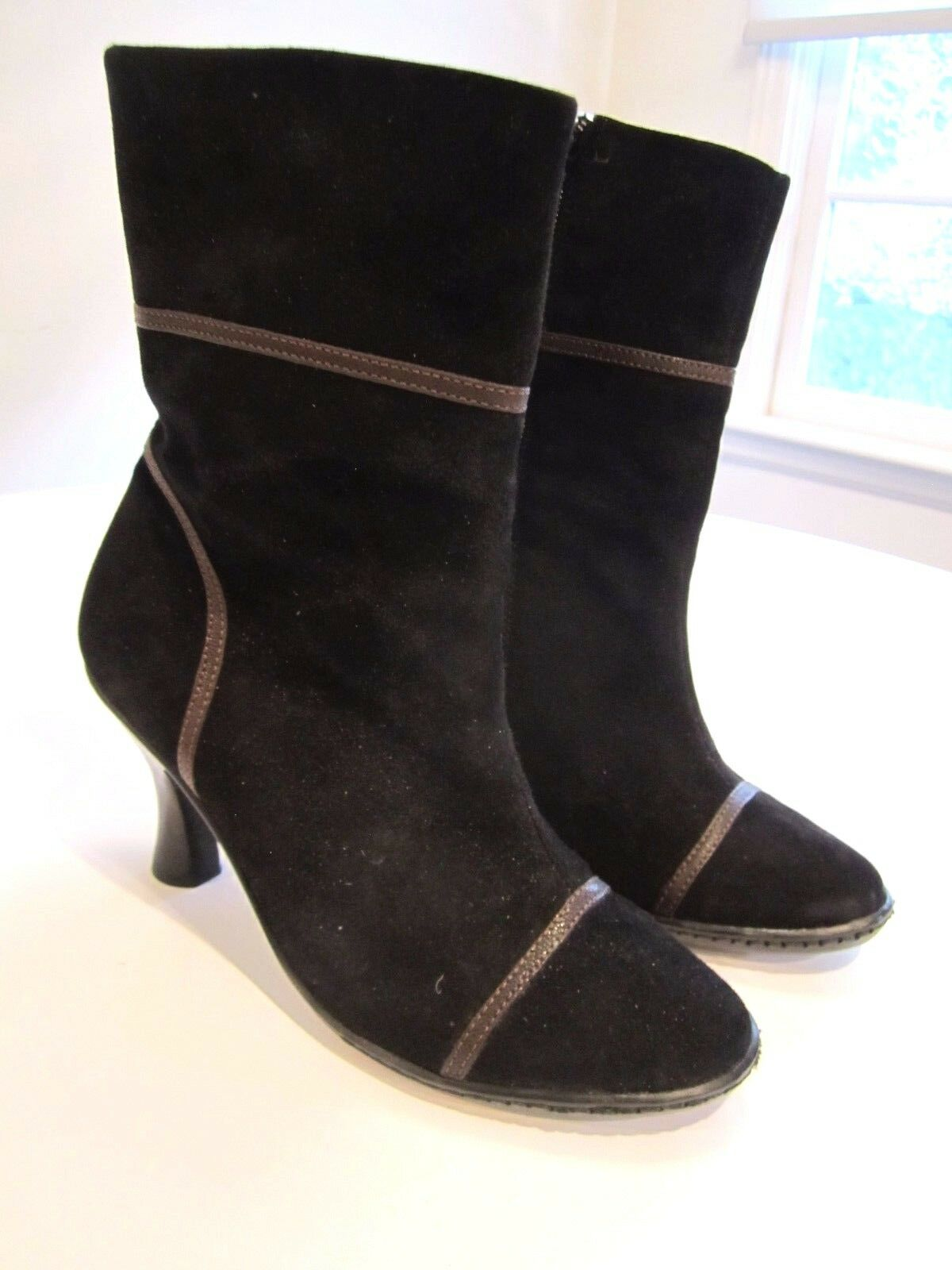EU38.5  US7.5 M W BOLO BORN CROWN super sexy BLACK suede HIGH HEEL ankle BOOTS