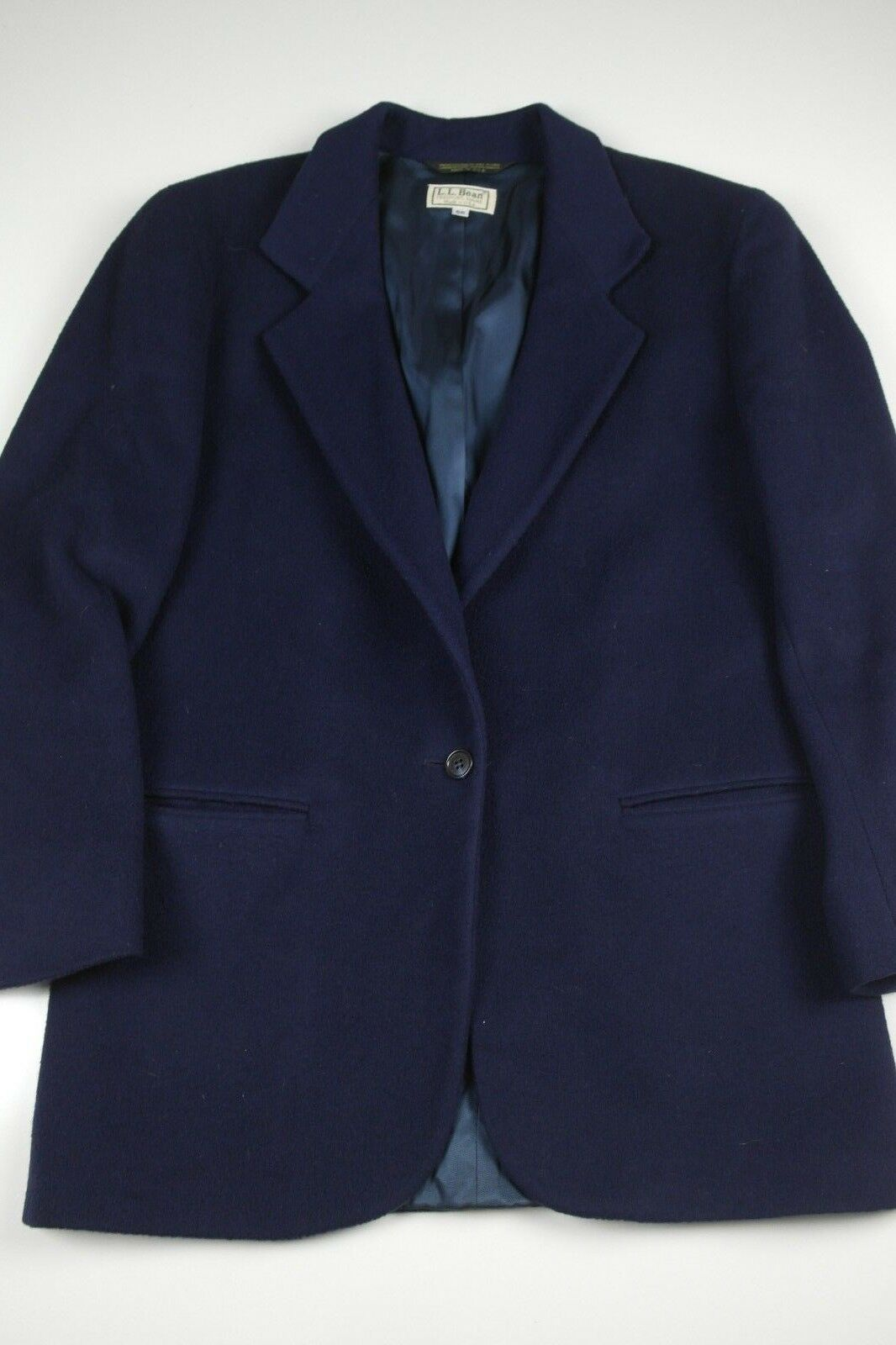 Vtg LL Bean Wool Blazer Mens Size 6R Navy Suit Coat Single Button Made in USA