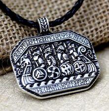 Antique Silver Plt Viking Longboat Rune Pendant Necklace Ladies Mens Gift Norse