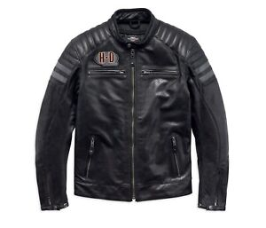 Harley-Davidson-Hutto-Leather-Gr-XXL-Schwarz-Orange-Motorrad-Leder-Jacke