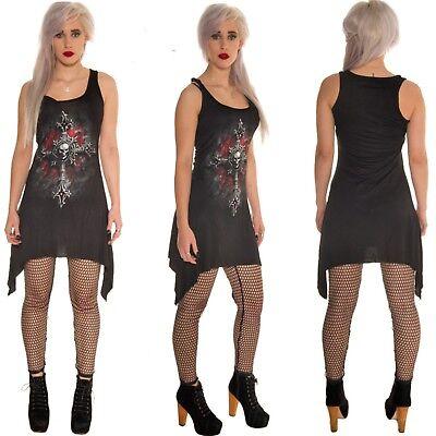 SPIRAL DIRECT VAMP CAT gothic cross TOP camisole vest BLACK DRESS