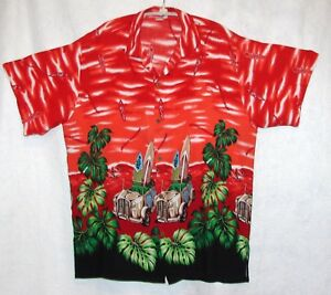 Vintage-Tropical-Fashion-Size-XXL-Chest-46-48-034-Hawaiian-Shirt-Woodies-Surfboards