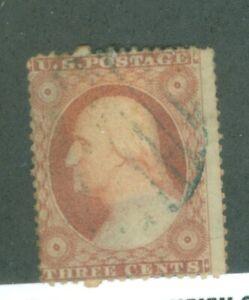 US-10-3c-STAMP-GEORGE-WASHINGTON-CANCELED-issued-1851-ORANGE-BROWN