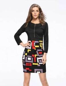 Fashion-Long-Sleeve-Kitenge-Knee-Dress-Geometric-Design-Lady-Tight-Business-8-18