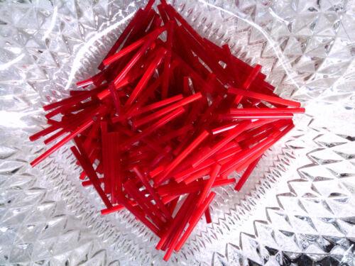 Vtg 100 RED MATTE 30mm LONG BUGLE BEADS-DEAD STOCK-WQW  #041115b