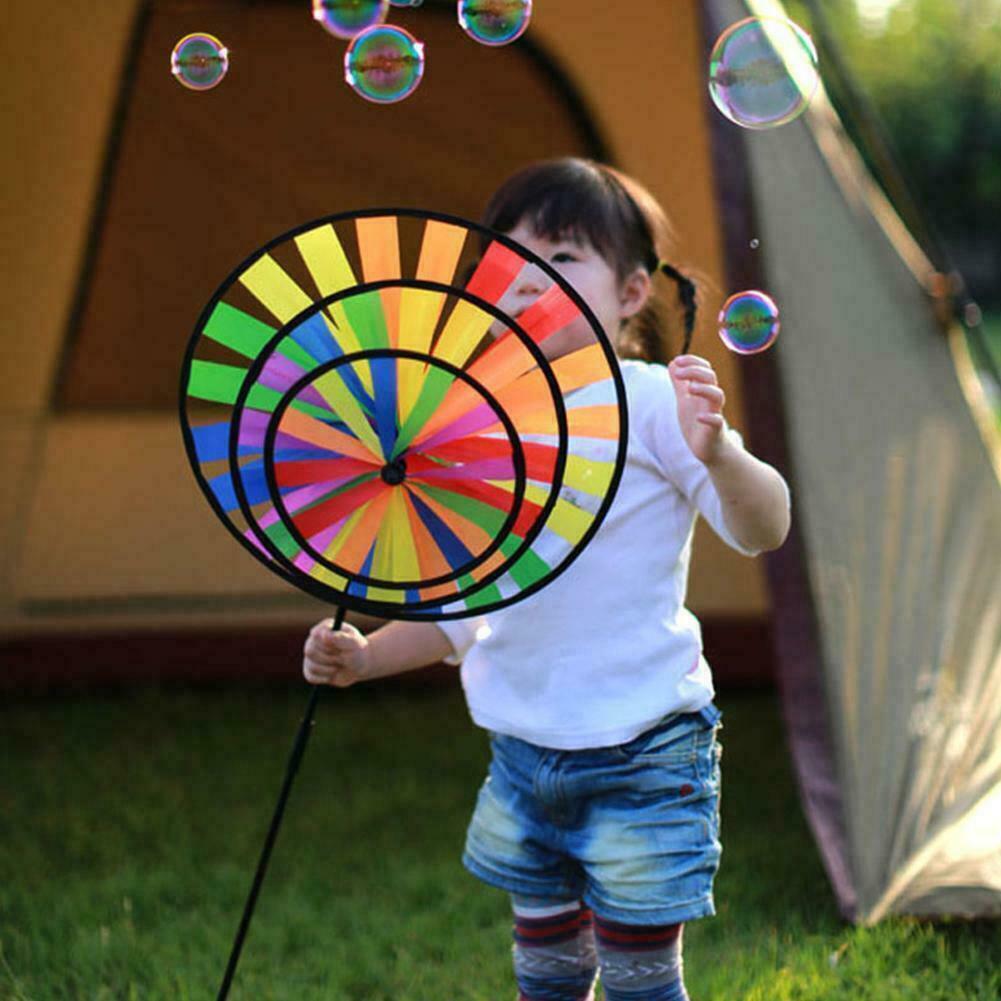 36cm Colorful Rainbow Triple Wheel Wind Spinner Windmill Yard Decor Garden Y7I4