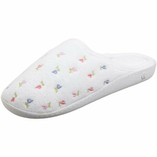 NEW Isotoner Womens Terry Embroidered Scalloped Clog White 7.5 8 M US