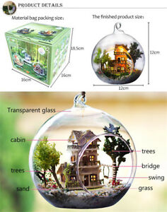 Doll-House-Miniature-Glass-Ball-Model-Building-Kit-Wooden-Dollhouse-Toy-Gift-New