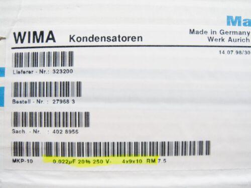 0,022uF 22nF 250Vdc WIMA MKP-10 Folien Kondensator #2F2/%