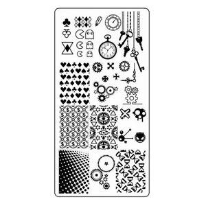 Zeit-Stamping-Schablone-Schluessel-Zahnraeder-Steampunk-Nailart-Stempelplatte