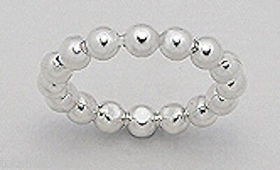 4mm Wide Solid Sterling Silver Little Ball Beads Wedding Band Ring Size 7 PRETTY