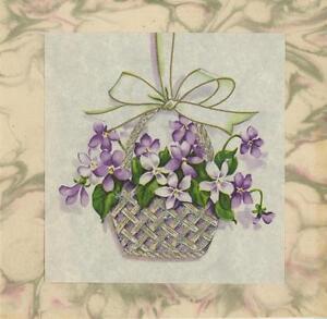 VINTAGE PURPLE VIOLET FLOWERS VINTAGE LITHO PRINT ANTIQUE PAPER COLLAGE PICTURE