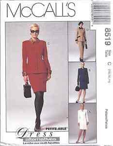 8519-UNCUT-McCalls-SEWING-Pattern-Lined-Jacket-Princess-Dress-Pants-Skirt-FF-OOP