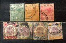 """FMS Malaya Malaysia Selangor 1891-99 7 Old """"Tiger"""" Stamps  CV Rm 55"""