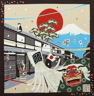 Japanese 12 Seasons in Kyoto Tama The Cat Furoshiki Scarf 'Oshogatsu' New Years