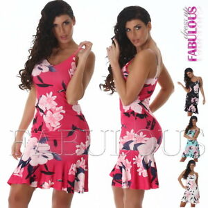 New-Sleeveless-Summer-Dress-Floral-Flower-Print-Party-Evening-Size-8-10-S-M