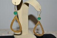 $98 Wendy Mink Green Onyx Pebbled Gold Teardrop Drop Earrings Usa