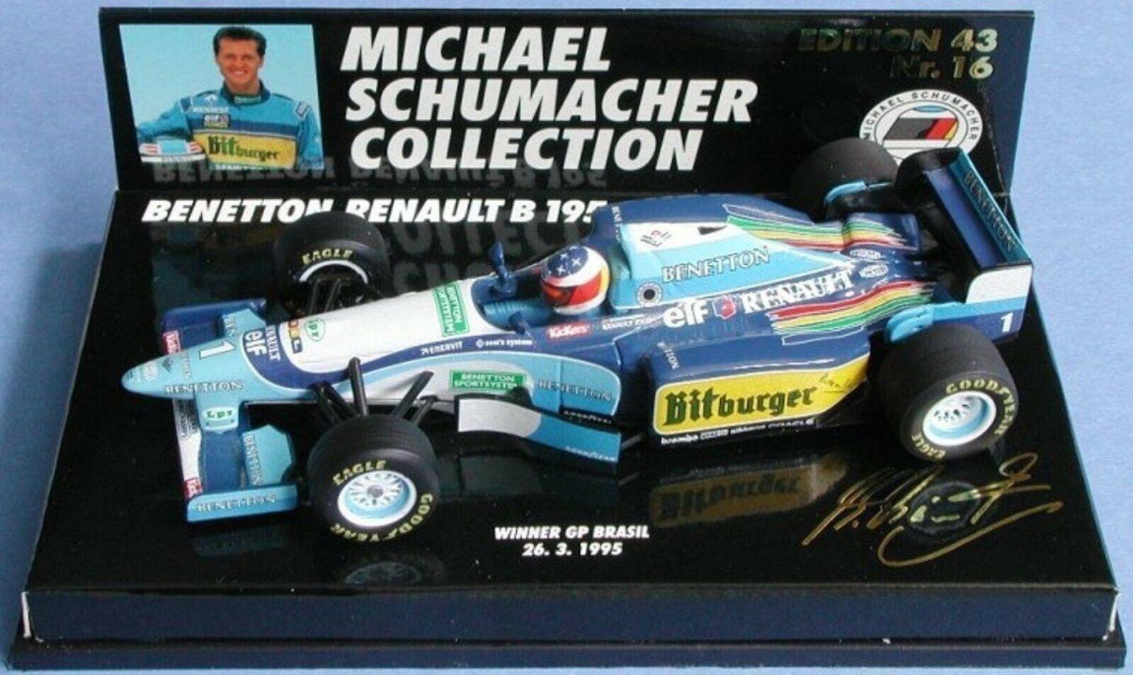 WOW EXTREMELY RARE Benetton B195 Ren Schumacher 1st Brazil 1995 1 43 Minichamps