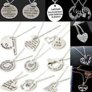 Charm-Family-Women-couple-Heart-Love-Necklace-gold-Silver-Pendant-Chain-Jewelry