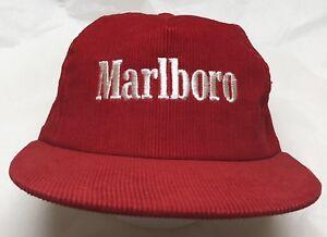 Image is loading Vintage-Marlboro-Red-Corduroy-Snapback-Trucker-Hat-White- 16faafc284bb