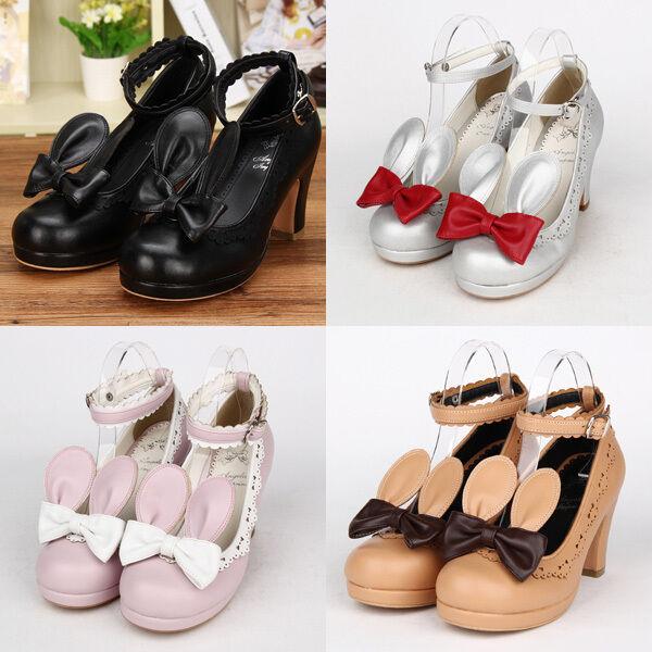 Gothic Sweet Lolita Girls Mädchen Hase Ohr Ear Bogen Bow Schuhe Schuhes Cosplay