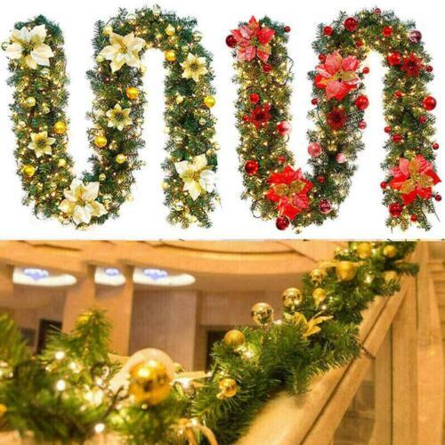 9FT Pre Lit Christmas Garland w// Lights Door Wreath Xmas Fireplace DIY Decors x1
