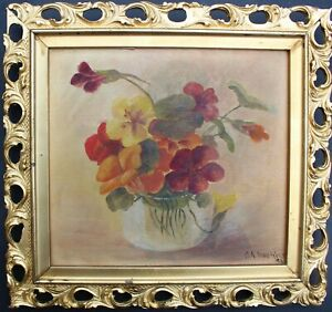 Antique-1896-Still-Life-oil-painting-on-canvas-Flowers-Framed-Signed-dated