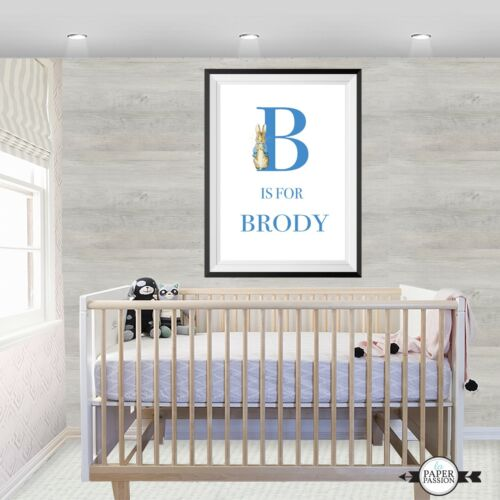 Peter Rabbit Nursery wall print,Custom name wall print,Boys wall print decor