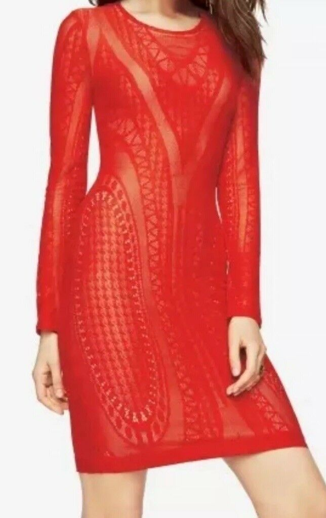 New without tag  BCBG Max Azria 5337 LaLa Lace Dress Sz S color Red