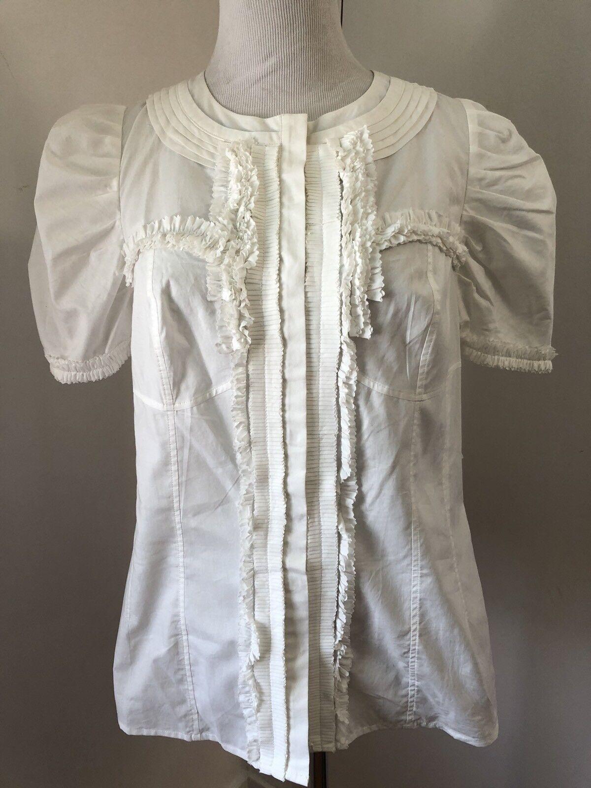 NWT anthropologie liefsdottir Weiß cotton shirt blouse top ruffles Sz 8
