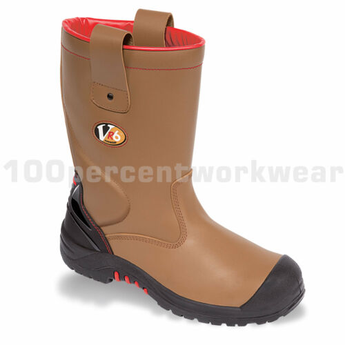 V12 Safety VR690 GRIZZLY Mens Work Boots Rigger Tan Brown Fur Leather Toe Cap S3