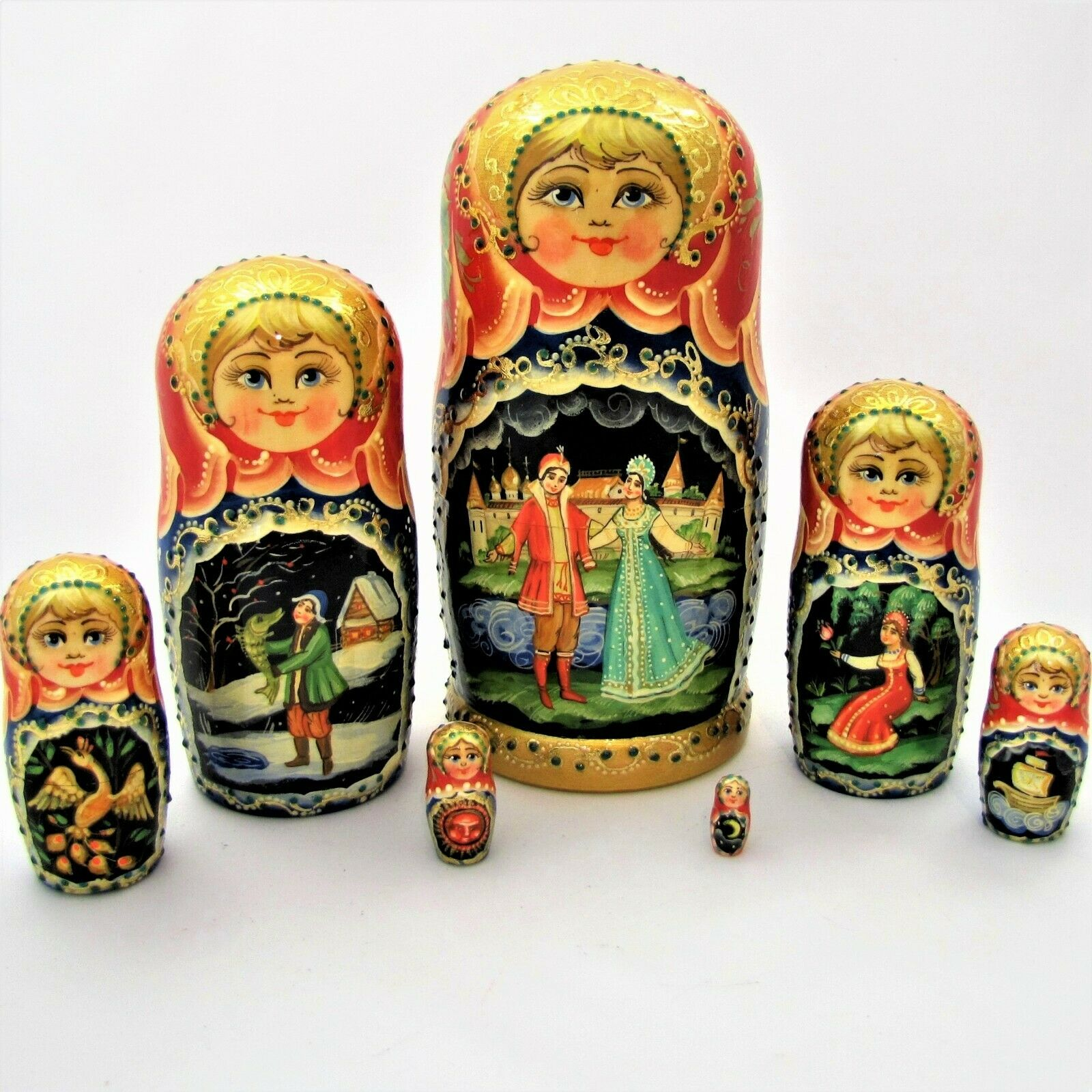 7 Poupées russes H22 peint main signé Matriundka Gigognes Nested Doll Matrioshka
