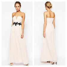 Little Mistress Simply Fab Sz 14 Nude Plunge Maxi DRESS 3D Floral Waist Be £68