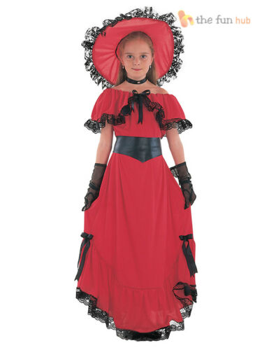 Girls Scarlet O/'Hara Victorian Costume Gone With The Wind Fancy Dress Book Week