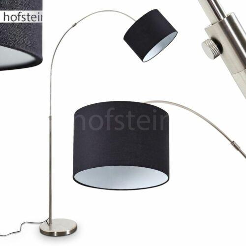Steh Stand Bogen Lampe modern Wohn Schlaf Raum Leuchte verstellbar Stoff schwarz