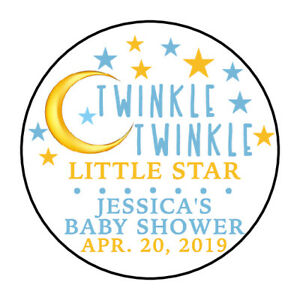30 TWINKLE TWINKLE LITTLE STAR GIRL Baby Shower Party Favor Envelope Sticker 1.5