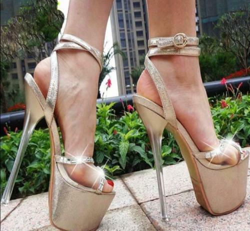 womens 17cm Lady Platform Open Toe Sandals High Ankle Heels Ankle High Strap Buckle Shoes fadb07